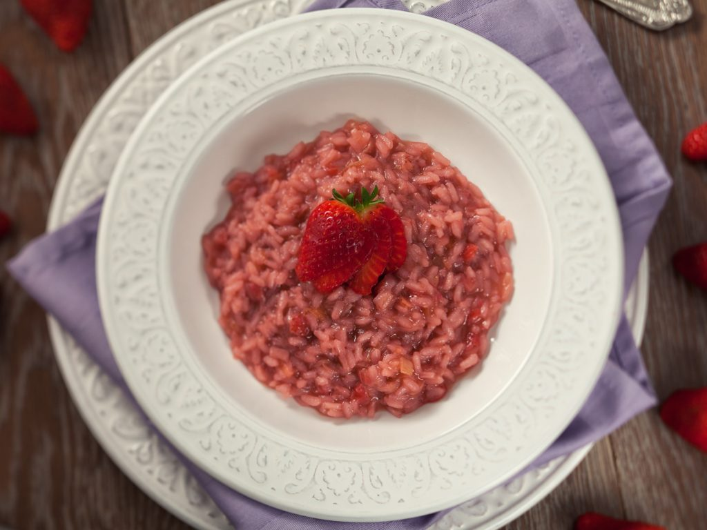 Risotto With Strawberries. Tilt Shift Lens.