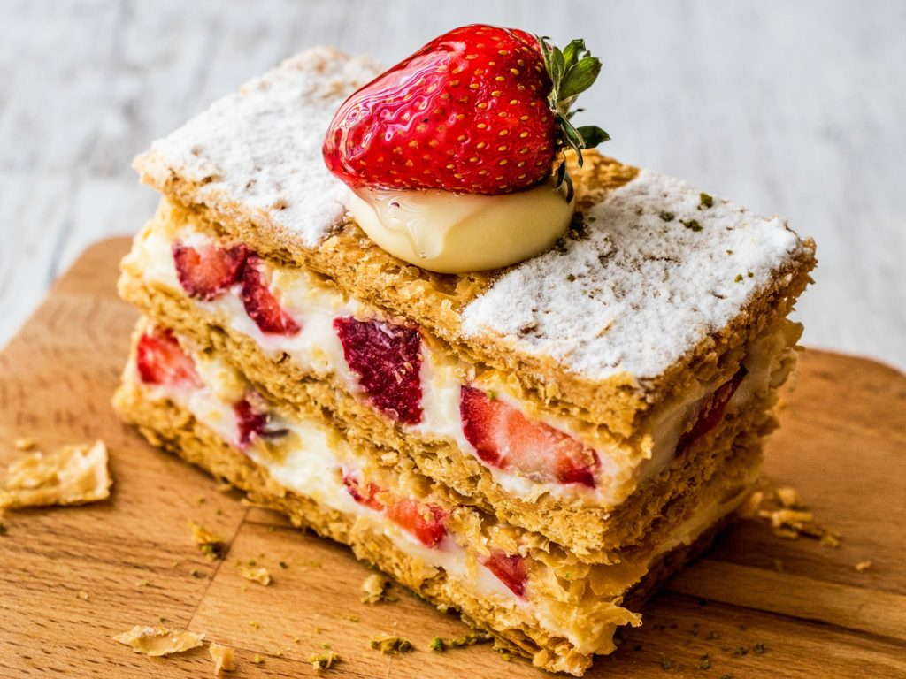 Strawberry puff mille-feuille with strawberry. Fruity Dessert.