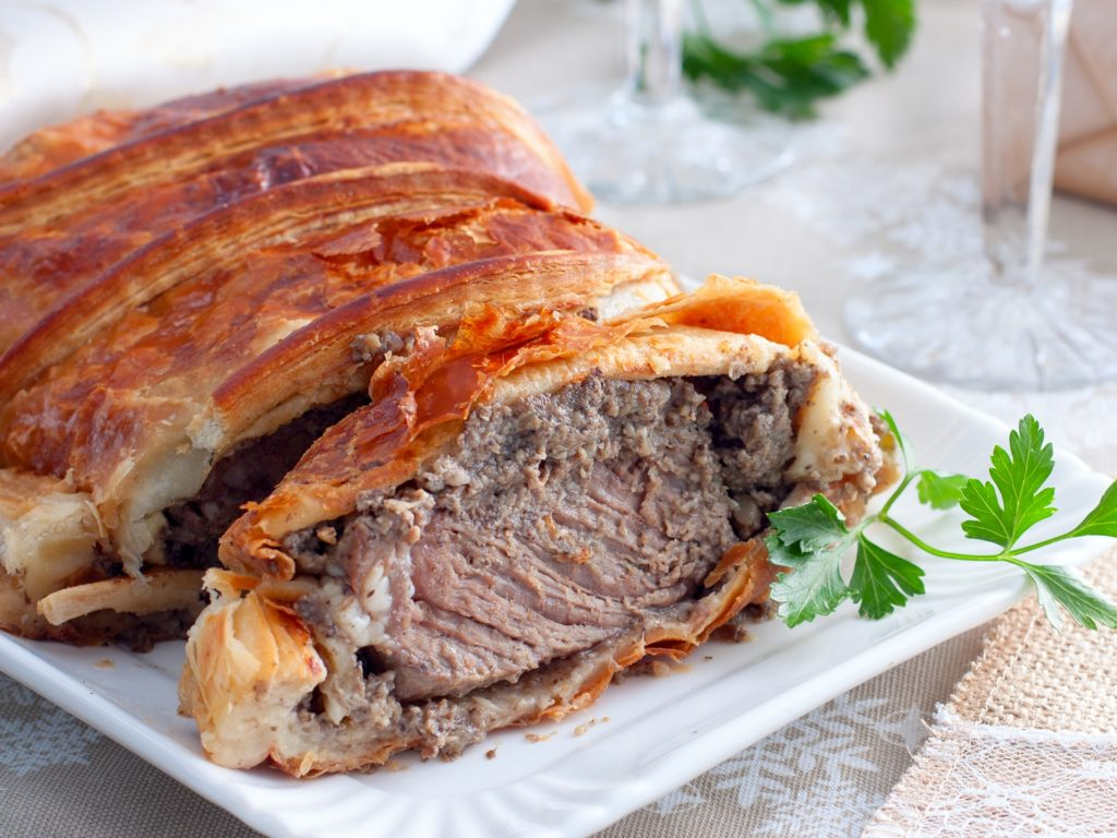 Beef Wellington as Advent creation, selective focus