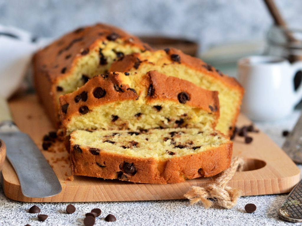 Banana bread with chocolate chips on the kitchen table.