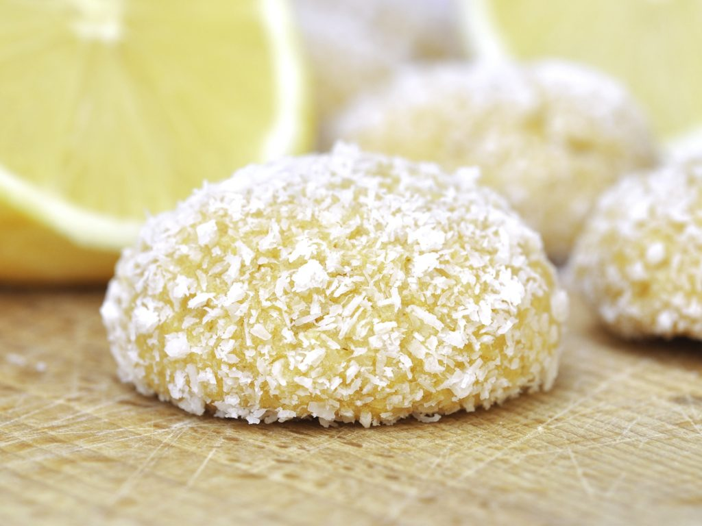 Homemade baked Lemon Coconut Cookies or Biscuits