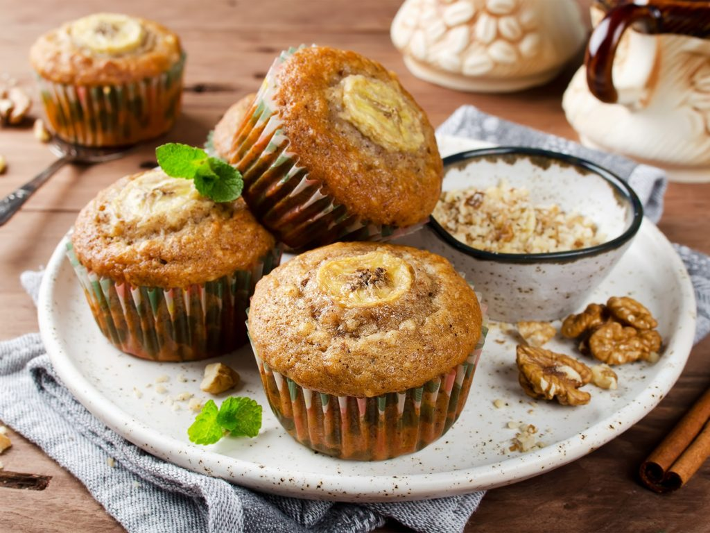 Banana muffins with cinnamon and walnuts. Fresh homemade pastry