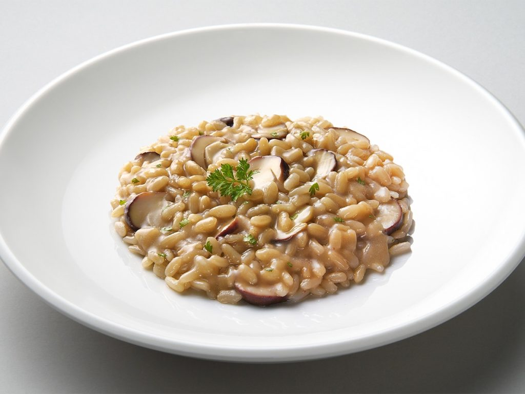Dish of risotto with porcini mushrooms isolated on grey plane